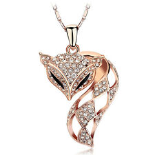 18K Rose Gold Plated Genuine Swarovski Crystals Fox Charm Necklace Jewellery