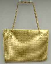 Vintage Whiting & Davis Gold Metal Mesh Evening Bag Handbag Purse Chain Straps