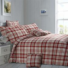CHECK PLAID RED CREAM BROWN KING SIZE COTTON BLEND DUVET COMFORTER COVER