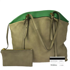 Authentic PRADA Logos Shoulder Bag Shoppers Leather Beige Green Pouch 38M403
