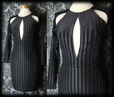 Gothic Sexy Black Velvet VOGUE NOIR Fitted Wiggle Dress 8 10 Victorian Vintage