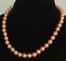 "10MM Rich Peach South Sea Shell Pearl Necklace 18"" NEW (silk gift bag)"
