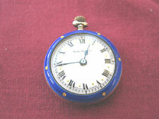 Hallmarked Sterling Silver & Blue Guilloche Enamel Ladies Pendant / Fob Watch