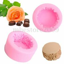 Round Rose Flowers Silicone Soap Candle Soap Candy Fondant Chocolate Mould Mold