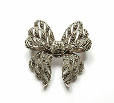 Vintage Stamped 925 Sterling Silver LARGE MARCASITE SET BOW BROOCH 12.3g
