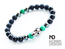 Men's Onyx/Malachite/Hematite Skull Bracelet with Swarovski Crystal 7-8inch