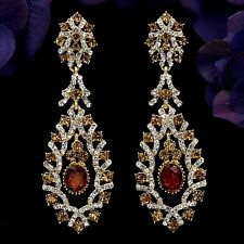 18K Gold Plated GP Topaz Crystal Rhinestone Chandelier Drop Dangle Earrings 6072