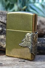 Zippo Lighter - Harley Davidson Motor and Wings - Antique Brass - # 201FBHD H241