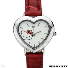 SANRIO HELLO KITTY RED LEATHER WRIST BAND BASE METAL BASE WATCH h3wl1007nonnf-rd