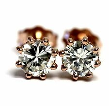 GIA certified .79ct New round diamond SI2 K 14k rose gold earrings estate