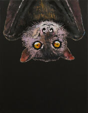 "BAT 11x14"" Oil Painting Halloween Scary Upside Down Original Animal Art M.Creese"