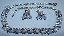 Vtg Light Blue Rhinestone Moonstone Necklace & Earring Set Jewelry Juliana ?