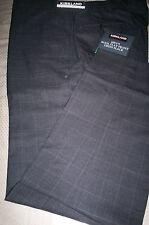 NWT! $98 KIRKLAND ITALIAN WOOL FLAT  FRONT DRESS PANTS-GRAY PLAID-32X32