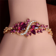 Women Yellow Gold  Appealing New Colorful Austrian Crystal Bracelet