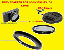 ADAPTER RING+UV FILTER+LENS CAP 52mm TO CAMERA SONY DSC-RX100 RX100MII RX100MIII