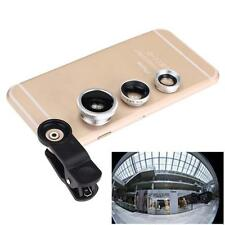 3 in 1 Fish Eye +Wide Angle Micro Lens Camera Kit for iPhone 5G 4S 4 6 Plus B DE