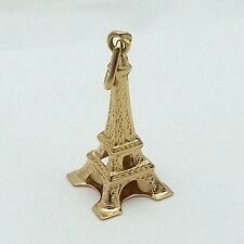 18K Yellow Gold 3D Paris France Tiny Eiffel Tower Charm Pendant 1gr