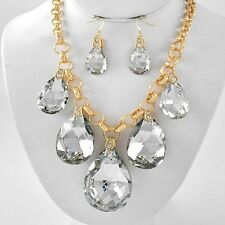 Stunning Icy Hot Clear Glass & Rhinestone Teardrop Chunky Statement Necklace Set