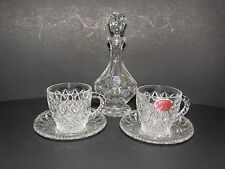 BOHEMIA HAND CUT LEAD CRYSTAL DECANTER MADE IN CZECH OVER 24% PBO 2 CUP-SAUCERS