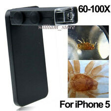 Mini LED 60-100X Zoom Microscope Camera Lens+ Protect Case for iPhone 5 5S 5G