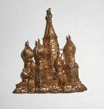Large Brooch Pin signed JJ, Gold Metal Iconic Old Architecture Russian Buildings