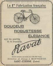 Z9828 Bicyclette RAVAT -  Pubblicità d'epoca - 1923 Old advertising