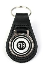 Triumph GT6 Target Logo Quality Black Leather Keyring