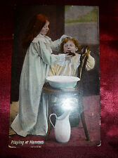 "Antique POSTCARD Children washing night clothes ""Playing at Mammas"" 1900s"