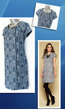 MONSOON Blue Jade Jacquard Tunic Fully Lined Detailed Dress With Zip sz 12
