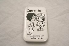 VINTAGE 3'' BY 2'' LOVE IS TURNING THE OTHER CHEEK PINBACK BUTTON KIM CASALI
