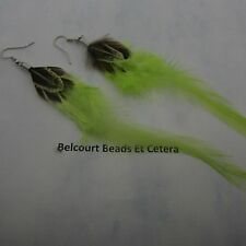 Feather Earrings - Beautiful Yellow Green Tail Feather 150mm (15cm)