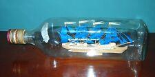 """Ship in a Bottle--FOUR MASTED 11"""" long JOHN WALKER BOTTLE Beautiful!"""