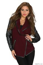 Women's Chic Elegant Wine Red Jacket Coat UK Size 8-10 Maroon/Wine Red