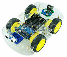 KIT Roboter 4WD Motor Chassis + Arduino UNO + L298 + Distanzsensor HC-SR04 Räder