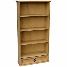 Corona DVD Rack Bookcase 3 Shelf 1 Drawer Mexican Solid Waxed Pine Storage Unit