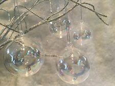 6 X Glass Iridescent Soap Bubble Baubles Christmas Tree Decoration Gisela Graham