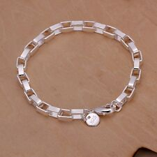 New Women 925 Sterling Silver Plated 5MM Box Cute Chain Bangle Bracelets Jewelry