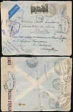 FRANCE 1943 AIRMAIL to SENEGAL NIGERIA AEF GABON...STAMPS REMOVED + REDIRECTED
