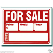 """10 Pcs 9x12 Inch Red&White Flexible Plastic """"For Sale""""Sign With Price Model Year"""