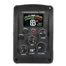4-Band Acoustic Guitar EQ Preamp Piezo Pickup System with LCD Digital Tuner I8O9