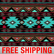 """Native American Fleece Fabric Peace Turquoise 60"""" Wide 46374-2 Free Shipping"""