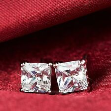 18k white gold gp princess cut swarovski crystal square ladies stud earrings