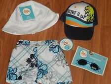 baby boy swim short trunk ~ 2 hats caps ~ sunglasses  6m 6 months