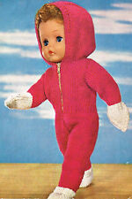 """Dolls clothes knitting pattern.16"""" doll. Zipped Hooded Onesie. ( V Doll 136)"""