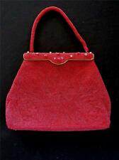 """VINTAGE 1960'S HAND MADE HONG KONG LABELED RED BEADED BAG  10""""L X 8""""H X 1 1/2""""W"""