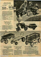 1972 ADVERT Sears Toy Play Farm Tractor Pedal Car Coaster Wagon Trailer