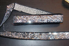 35mm sequin silver BLACK jacquard embroidered ribbon applique  trimming decor