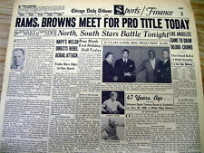 1955 newspaper CLEVELAND BROWN vs LOS ANGELES RAMS for NFL Football Championship