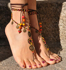 SUN MANDALA BAREFOOT SANDALS foot jewelry hippie sandals toe anklet beaded