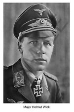 aviation art Luftwaffe pilot photo postcard Helmut Wick colour WW2 JG 2 Me 109
